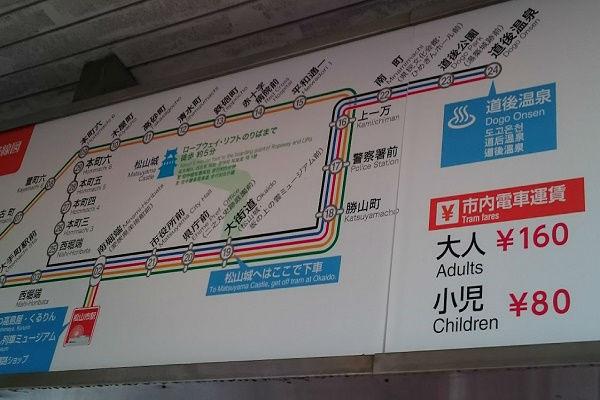 伊予鉄道市内線路線図
